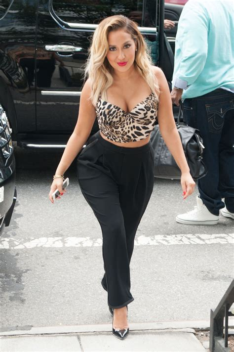 Adrienne Bailon Filming 'The Real' at the Hudson Cafe in